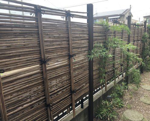 竹垣 煤竹 交換 作り直し 天然竹 施工前