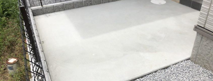 土間打ち 土間コンクリート 外構 エクステリア お庭 砂利敷き 防草シート敷き